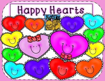 Valentine's Hearts Happy Rainbow Clip Art by Kid-E-Clips C