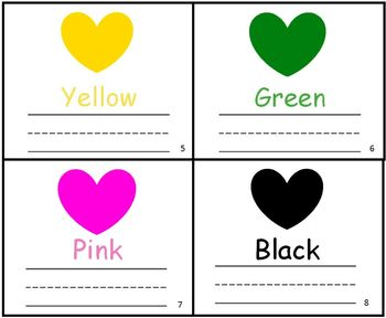 Valentines Heart Color Practice Writing Mini-book Reader