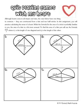 Valentine's Heart of a Champion -- Area, Perimeter, Volume & Soul Mate Finder