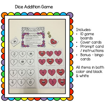 Valentines Hearts Dice Addition Game