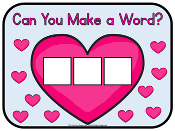 Valentines Hearts Phonics Word Builder Center