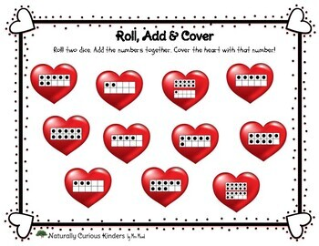 Valentines Hearts Roll, Add & Colour & Cover - Subitizing Math Game Dice #s 2-12