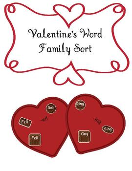 Valentine's Hearts and Chocolates Word Family Sort