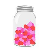 Valentines Hearts in Mason Jar Clipart