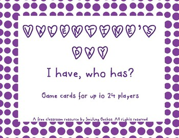 "FREE Valentine's ""I Have, Who Has"" Card Game"