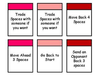 Valentines Improper Fractions Board Game
