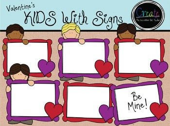 Valentine's KIDS with Signs - Digital Clipart