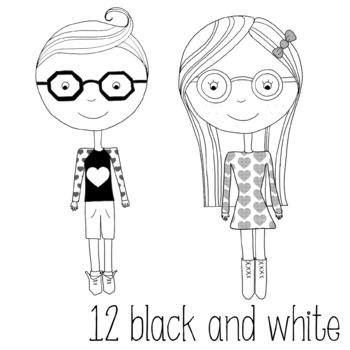Valentine's Kid Clipart black and white and colored Hipster Kids