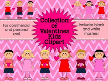 Valentine's Kids Clipart Collection Commercial and Personal Use