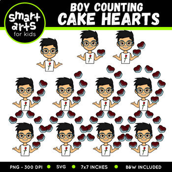 Valentines Kids Counting Clipart Bundle