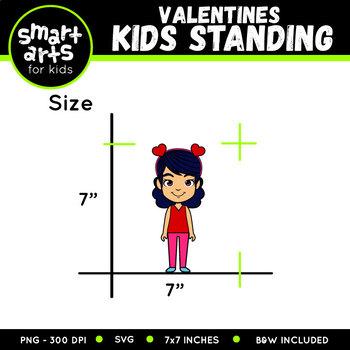 Valentines Kids Standing Clip Art