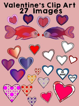 Valentine's Kissing Fish & Hearts Clip Art - 27 images