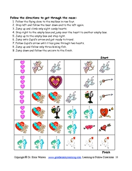 Valentines: Language Arts Following Directions and Linguistic Cues