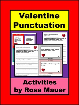 Valentines Language Arts Punctuation Task Cards and Worksheet