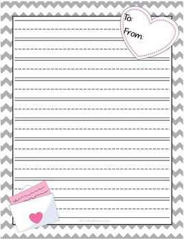 Valentines Lined Writing Paper Set Pack of 8