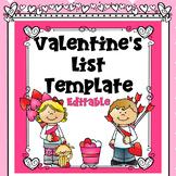 Valentines List Template Editable