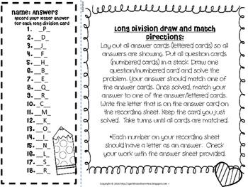 Valentine's Day Mini Task Cards: Long Division