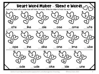 valentine 39 s day games valentine 39 s day worksheets for long vowels phonics games. Black Bedroom Furniture Sets. Home Design Ideas
