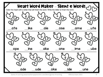 Valentine's Day Games: Valentine's Day Worksheets for Long Vowels ...