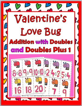 Doubles Addition and Doubles Plus One - Valentine's Day Math - Doubles Facts