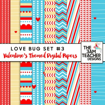 Valentine's Love Bug Digital Papers Set #3