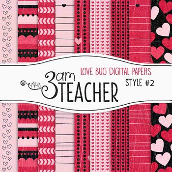 Valentine's Love Bug Digital Papers Style #2