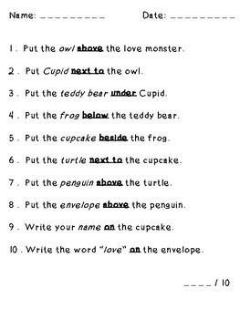 Valentine Love Monster Following Directions (Prepositions, Cardinal, Temporal)