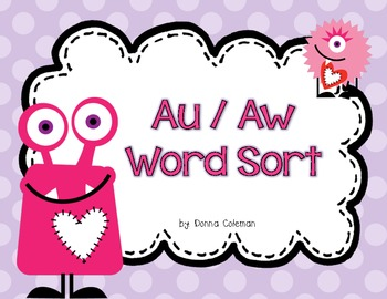 Valentine's Love Monster - au/aw Word Sort {Freebie}