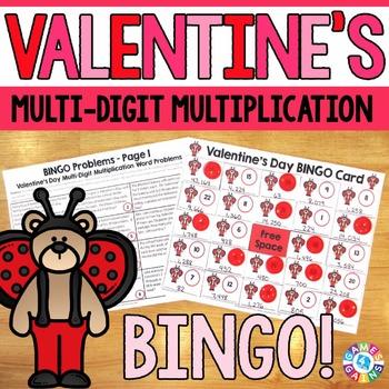 Valentine's Day Math Game: Multi-Digit Multiplication Word