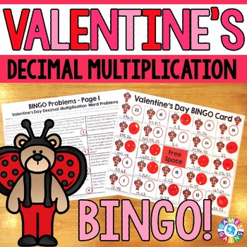 Valentine's Day Math Game: Decimal Multiplication Word Pro