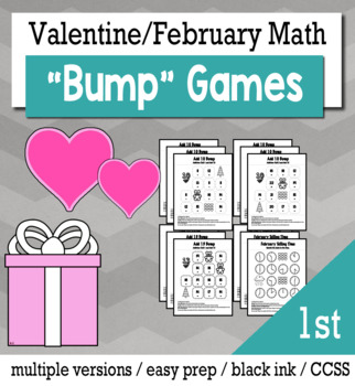 Valentines Math 1st Grade Bump Games Bundle