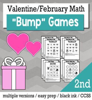 Valentines Math 2nd Grade Bump Games Bundle