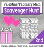 Valentines Math 2nd Grade Scavenger Hunt Game Bundle
