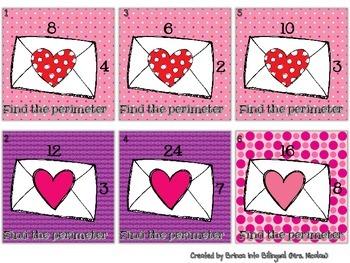 Valentine's Math 3Grade - Probabi,Fractions,Patterns,Perim,Multipl,WordProbl