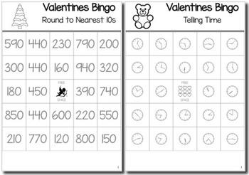 Valentines Math 3rd Grade BINGO Game Bundle