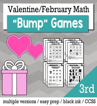Valentines Math 3rd Grade+ Bump Games Bundle