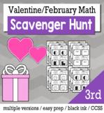 Valentines Math 3rd Grade Scavenger Hunt Game Bundle