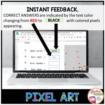 Valentine's Day Math Adding and Subtracting Decimals PIXEL ART (Google Drive)