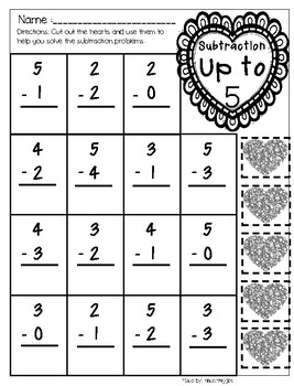 Valentines Math Bundle Addition, Subtraction and Missing Addends 5 & 10