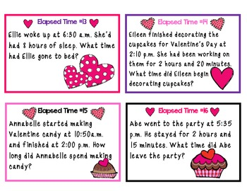 Valentine's Math-Elapsed Time Word Problems