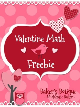 Valentine's Math Freebie-Common Core Aligned-Owls Birds Chevron and Dots