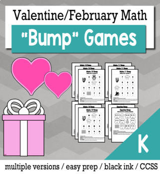 Valentines Math Kindergarten Bump Games Bundle