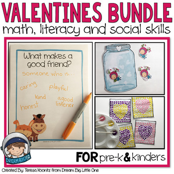 Valentines Math, Literacy, Social Skills Activities for prek and kindergarten