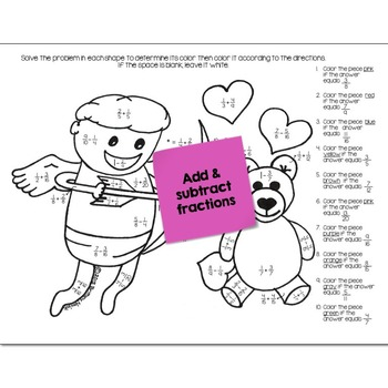 Add & Subtract Fractions Math Practice Valentines Color by Number