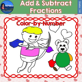 Adding and Subtracting Fractions   Valentines Math Color by Number