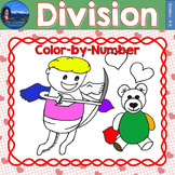 Division Math Practice Valentines Color by Number