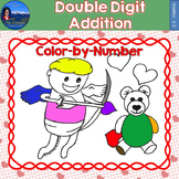 Double Digit Addition Math Practice Valentines Color by Number