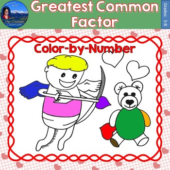Greatest Common Factor (GCF) Math Practice Valentines Color by Number