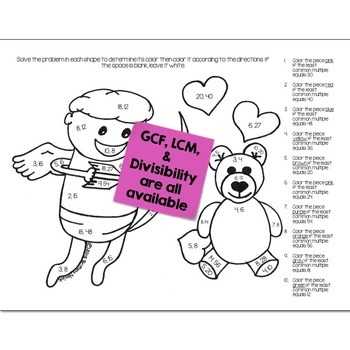 Valentines Math Practice Color by Number Grades K-8 Bundle
