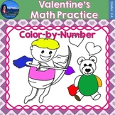 Valentines Math Practice Color by Number Grades K-4